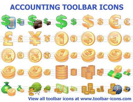 Matching toolbar icons for accounting and bookkeeping applications