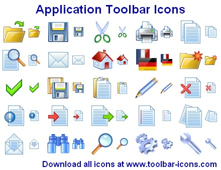 Application Toolbar Icons screenshot: download icon, download icons, icon set, download ico, toolbar icons, application icons, applications icons, applications icon, application icon set, windows application icon, ico downloads, help icon, down icon, copy icon, exit icon