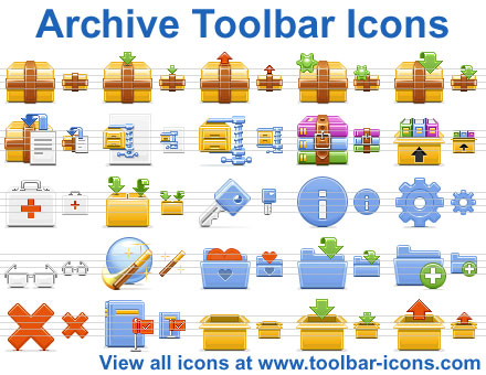 Royalty-free toolbar icons for torrent, archive and backup software and websites