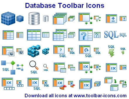 Datenbank Toolbar Icons screenshot