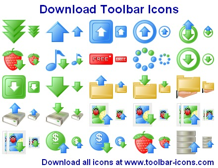 Download Toolbar Icons - download icons, icons, upload icon, upload, icon design, download images. - Download Toolbar Icons - a comprehensive icon set for download-upload web sites