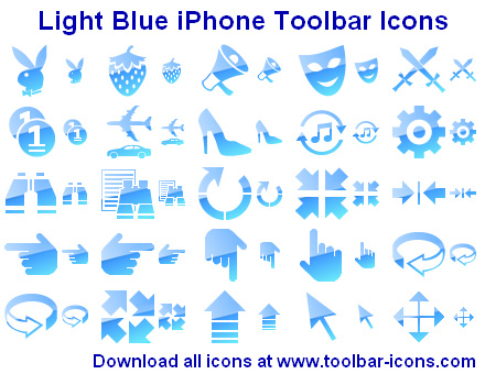 Click to view Light Blue iPhone Toolbar Icons 2012.1 screenshot