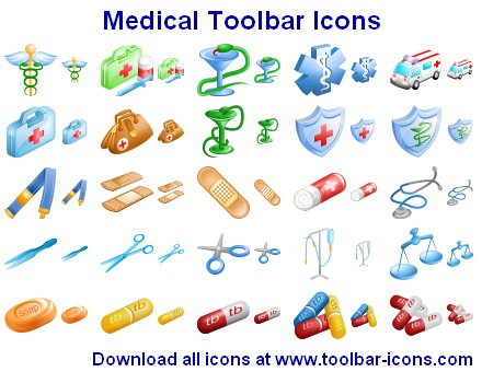 Over 300 toolbar icons for medical and health care applications