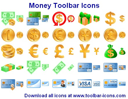 Money Toolbar Icons for financial products