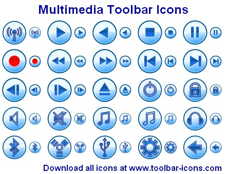 Click to view Multimedia Toolbar Icons 2011.1 screenshot