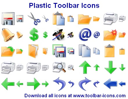 AhaSoft Plastic Toolbar Icons | 100 stock icons for your application toolbar
