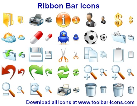 Ribbon Bar Icons - ribbon,bar,toolbar,tools,cut,copy,paste,undo,redo,print,zoom,dektop,network,help,boss,user,icons,ico,icon,development,vista - 758 royalty-free top quality icons for application ribbon bars and menus