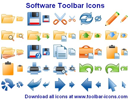 Stock toolbar icons for software designers